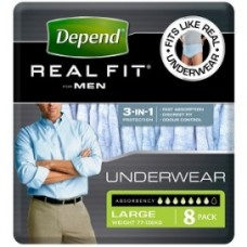 DEPEND REAL FIT UNDERWEAR FOR MEN LARGE/X LARGE BLUE (PACK/8)
