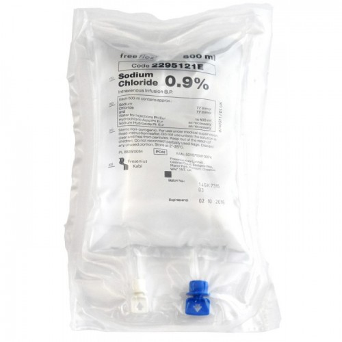 SODIUM CHLORIDE 0.9% - NORMAL SALINE 500ML IV FREEFLEX BAG (K690521)